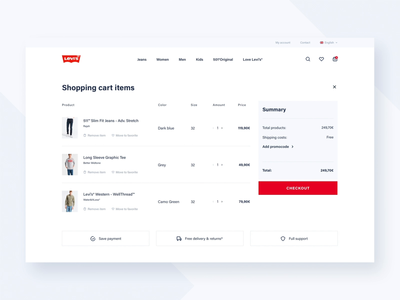 Levi's Store Concept - Basket process checkout basket product design white space webdesign web ux ui typography shop redesign product mobile levis design concept commerce clothes