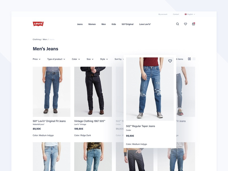 Levi's Store Concept - Products products list products page process checkout product design white space webdesign web ux ui typography shop redesign product mobile levis design concept commerce clothes