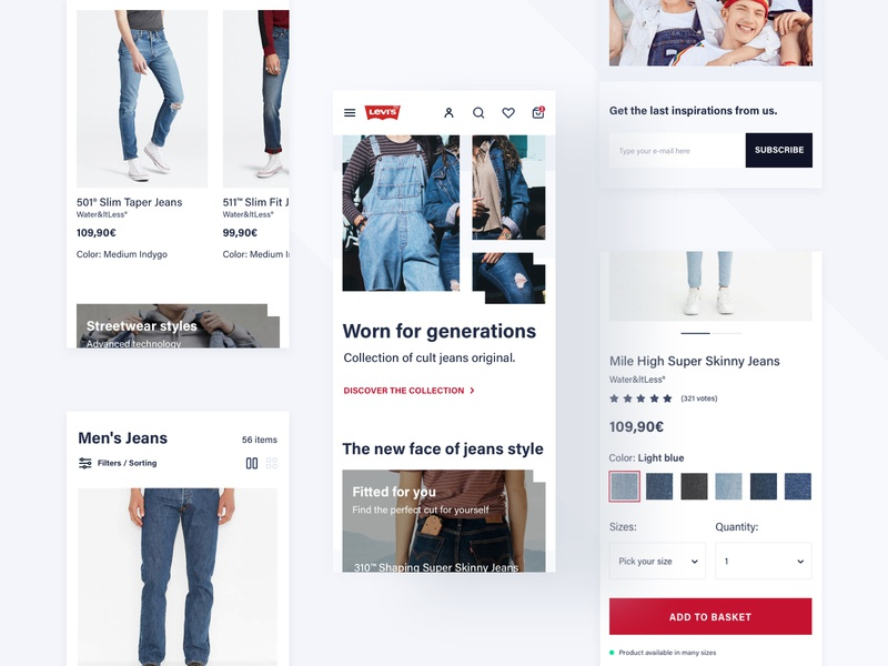 Levi's Store Concept - Mobile page products process checkout product design white space webdesign web ux ui typography shop redesign product mobile levis design concept commerce clothes