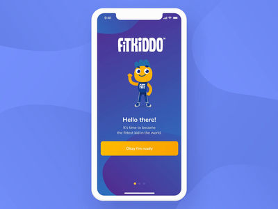 FitKiddo Mobile App - Onboarding parents girl boy animation fitness kids exercise workout training onboarding flutter android ios clean app product design ux ui