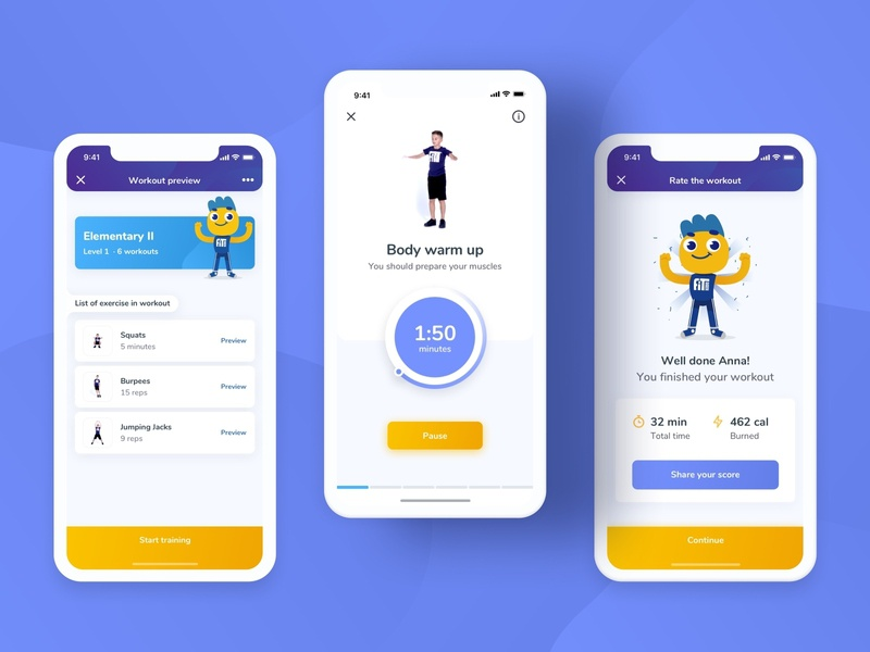 FitKiddo Mobile App - Workout mobile ui modern workout ux ui training product parents kids ios girl flutter fitness exercise design clean boy app animation android