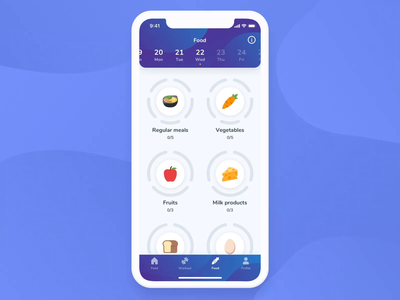 FitKiddo Mobile App - Nutrition health nutrition food workout ux ui training product parents kids ios girl flutter fitness design clean boy app animation android