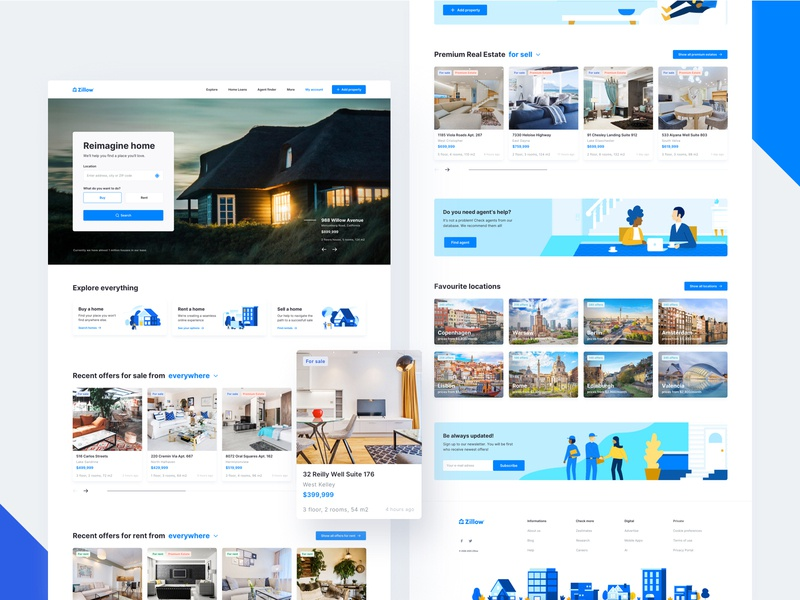 Zillow Real Estate Redesign - Homepage minimalist product design illustration ux ui web design user interface ui design redesigned redesign concept redesign real estate agency real estate modern website