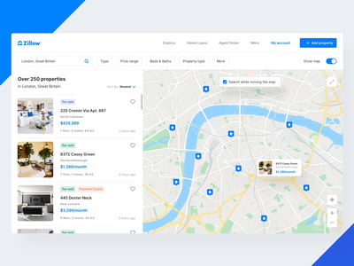 Zillow Real Estate Redesign - Offers&Map video animation list offers map web design ux user interface ui design ui redesigned redesign concept redesign real estate agency real estate product modern website minimalist illustration design