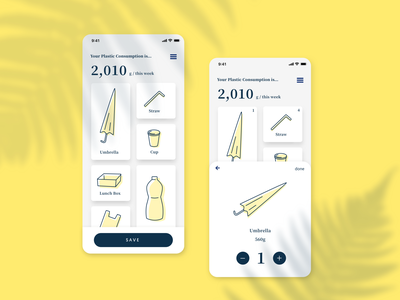 Plastic Consumption Calculator sketch japan ios app waste calculator cali environment plastic design tokyo graphic design ui