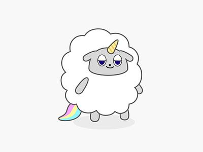 Say Hi to Lambnicorn ! cloud magic rainbow monster cute character lamb sheep unicorn vector dribbble illustration tokyo japan design