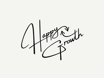 HappyGrowth Logo growth happy ci branding script font typeface logodesign logo
