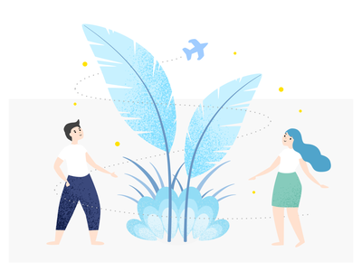 Happy Growth! magic magical airplane man woman happiness plants plant growth illustration happy