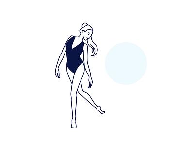 Woman minimal woman girl ballet sketch vector design tokyo japan illustration