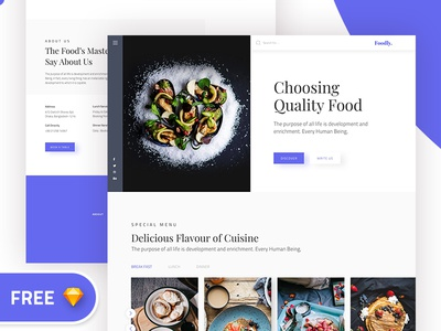 Foodly Free Landing page  ( Sketch )