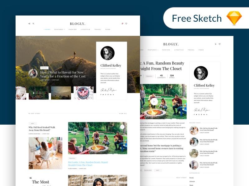 Free Free - Blogly Theme blogly trendy clean ui design interface theme blog freebie free