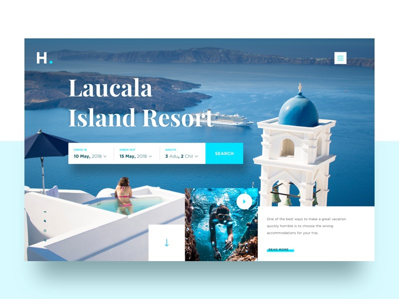 Visual Exploration 9 resort  web  ux hotel  ui  parallax  landing page  home  grid  creative minimal