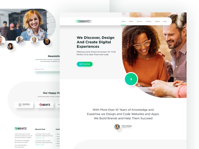 Website Design For Software Company landing page ui trendy interface design creatively clean agency