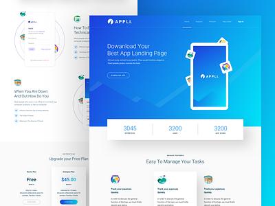 App Landing Page app clean appli design interface trendy ui landing page minimal webdesign