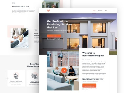 House Rendering Website Design landing page ui trendy interface design website clean company house realestate houserendering