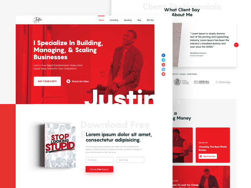 Personal Website for Justin J. Dunn agency web clean minimal typography personalwebsite trendy interface landing page design ui