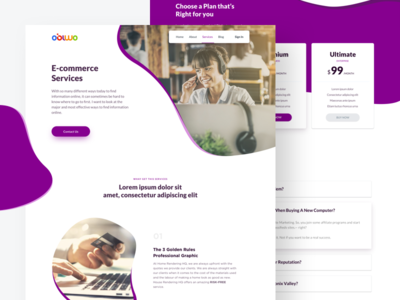 Single Services Page for Obiwo minimal web agency clean trendy landing page design ui e commerce service landing page service design
