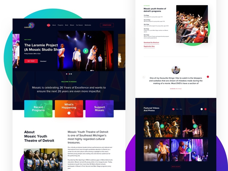 Mosaic Website Design website interface clean trendy landing page ui charities creative donate music mosaic