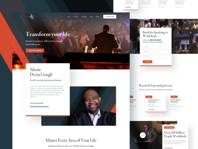Devin Gough-Motivational Speaker website minimal trendy clean design landing page parsonal coach