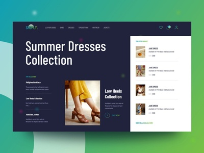 Shoply landing page website header minimal interface clean trendy landing page design product fashan ecommerce