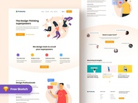 Free Free_ Productly landing page clean trendy ui illustration minimal landing page product freelance marketlace business free sketch free psd productly freebie free