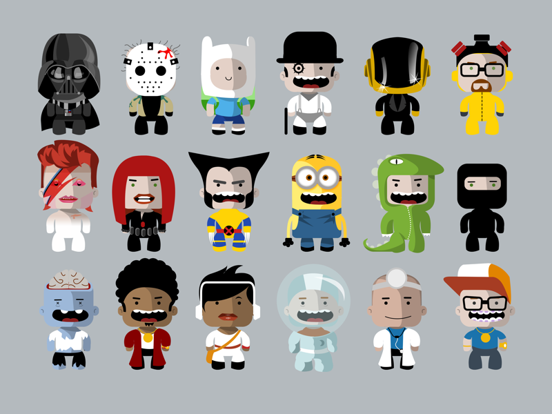 Customizable characters ux avatar profile app design character design