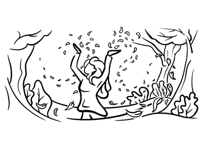 Fall trees exited happy nature leafs leaf adagio fall headphones cloud apple coffee zen sketch line art illustration girl relaxing relaxed energizer