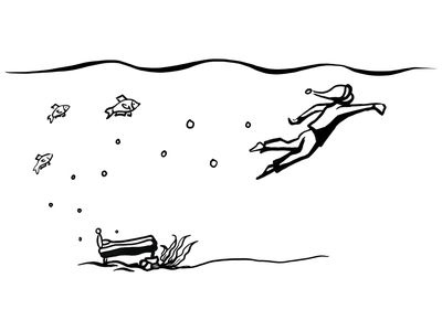 Arise to the surface water sea bed fish boy power ocean arise exited happy nature sketch line art illustration relaxing relaxed energizer