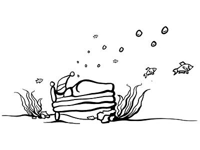 deep sleep loved minimalist clean lineart illustration oceanic relaxing relax nap man bed sleeping sleep seaweed sea bubbles fish bottom ocean bottom of the ocean
