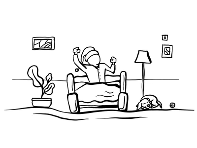 Early morning ball plant room dog energize energetic energy wake loved minimalist clean lineart illustration relaxing relax nap man bed sleeping sleep