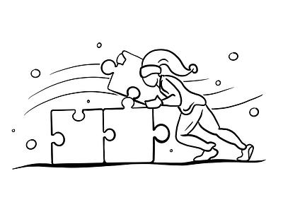 The great puzzle line art illustration push sleep manicule puzzle