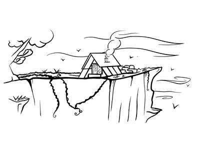 Mountain Dwell meditate meditation lineart cat illustration black and white nature dear trees clearing birds wind grass