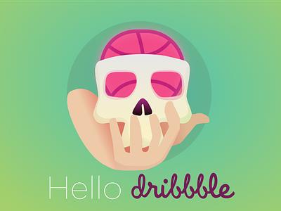 Hello Dribbble erudito hamlet brain thanks invitation debut hello skull