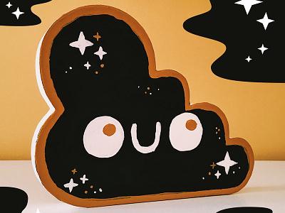 Little Cloud Companion home decoration paint acrylic stars cloud mache paper craft illustration