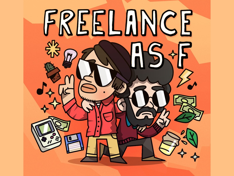 Freelance As F comedian comedy podcasts podcast typography funny art direction art illustrator positivity pep good vibes love character design vector character design illustration