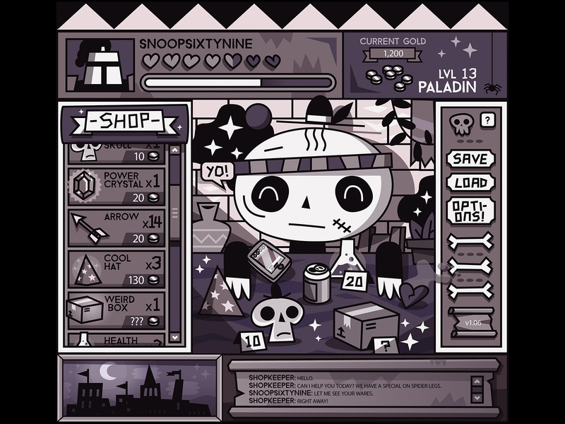 Skulky's Magical Emporium menu limited palette game art games game magic ui character vector design character design illustration magical