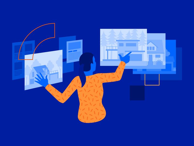 Digital Marketplace flat case study woman marketplace ecommerce design vector illustration