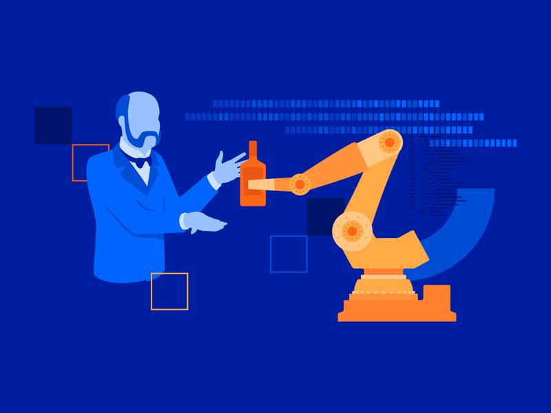Enabling Digital Transformation suit flat code automatic alcohol spirit lord gentleman man transformation robot bot design vector illustration