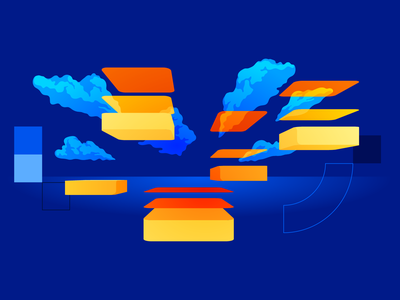 Cloud Migration improvement maintenance infrastructure sky perspective migration data cloud computer vector illustration