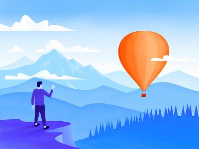 Farewell Illustration waving hot air ballon baloon mountains goodbye farewell grain flat brush illustration