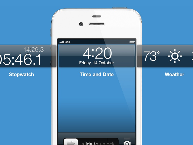 Lockscreen Cards ios apple lockscreen cards jailbreak concept render weather stopwatch time date iphone