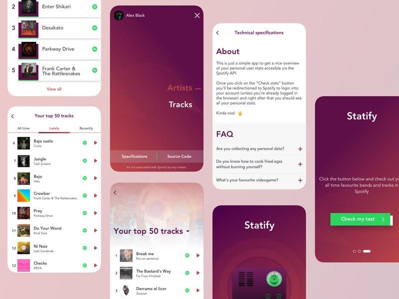 Music app · Statify mobile ui mobile ux web app uiuxdesign uiux ui uidesign spotify music app music interface inspiration design app design app
