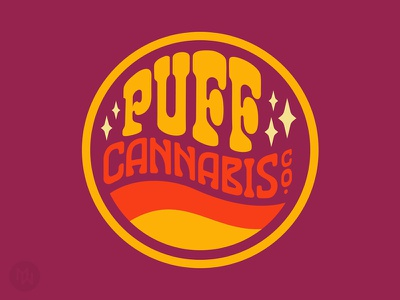 PUFF Cannabis Co. california canada flower love peace weed dispensary strain cannabis logo marijuana