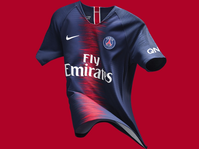 Paris Saint-Germain 2018/19 Home Kit red blue nike badge crest french france uniform jersey kit football soccer