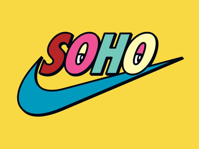 Nike Soho air swoosh eyes logo tshirt pop art nyc new york city soho
