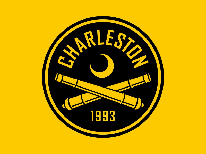 Charleston Battery black moon crescent cannons usl logo crest badge soccer south carolina