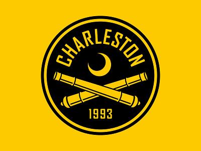 Charleston Battery black moon crescent cannons usl logo crest badge soccer south carolina