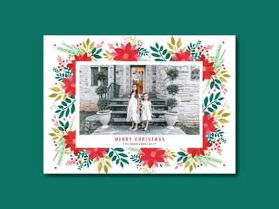 Poinsettia Frame Christmas Card