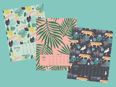 Tropical Desk Calendar 2018 product paper stationery tigers erika firm plants on pink palm toucans tropical calendar