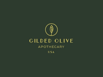 Gilded Olive Apothecary Logo vintage 1920s art deco retro plant olive leaf erika firm bath bath and body soap apothecary olive